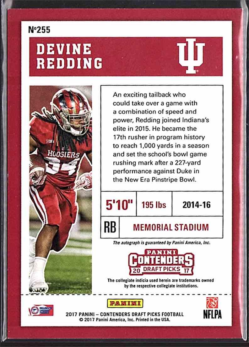 2017 Panini Contenders Draft Picks Devine Redding #255 card back image
