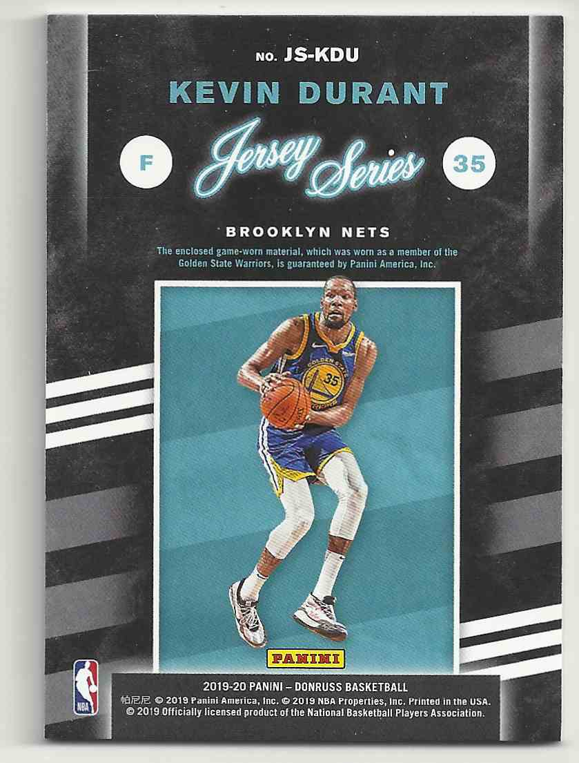 2019-20 Donruss Jersey Series Kevin Durant #35 card back image