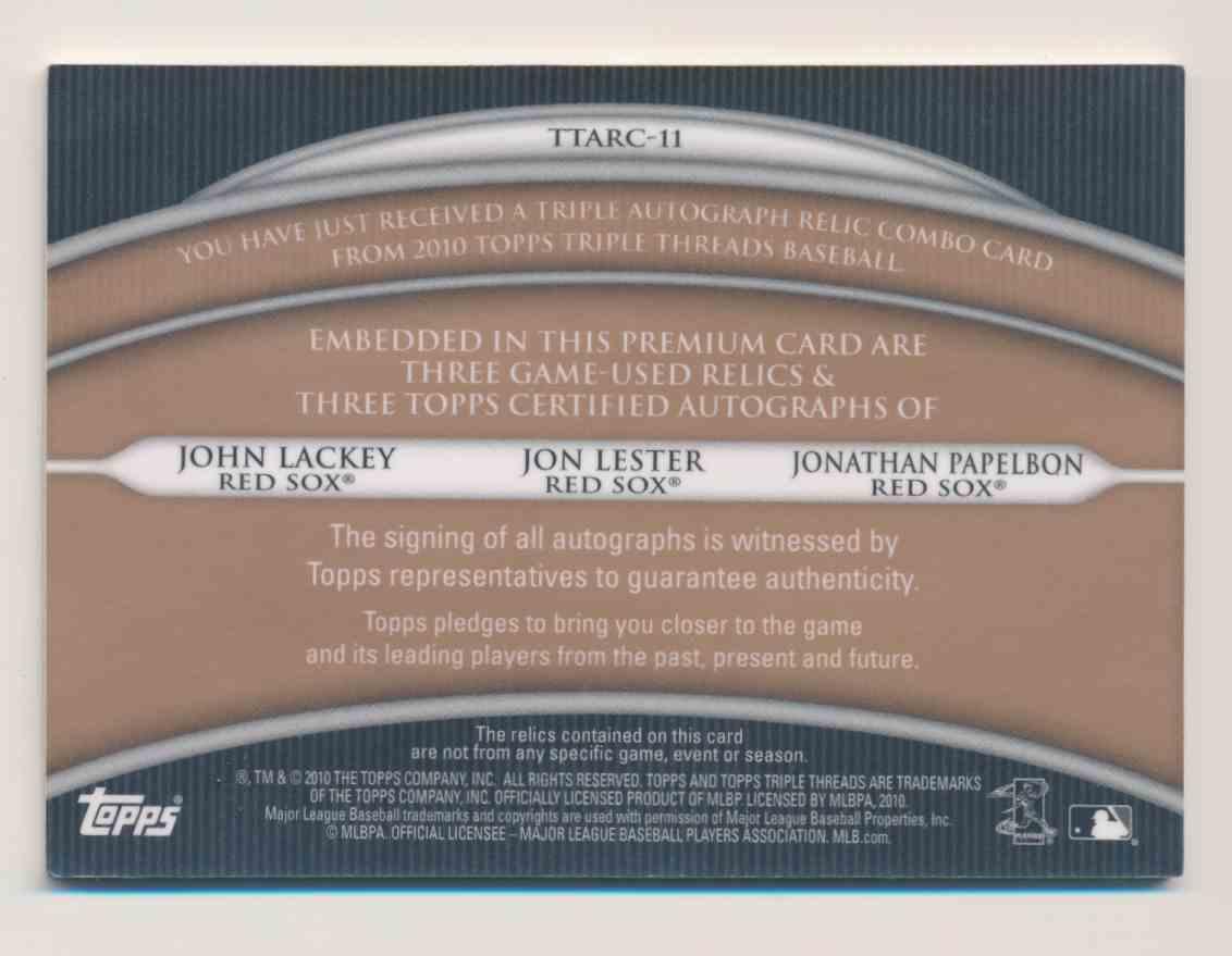 2010 Topps Triple Threads John Lackey Jon Lester Jonathan Papelbon card back image