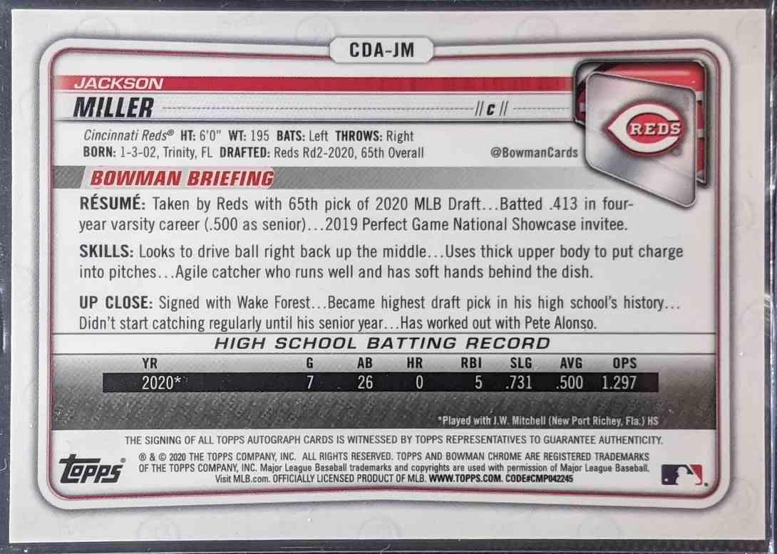 2020 Bowman Chrome Draft Autographs Jackson Miller #CDA-JM card back image