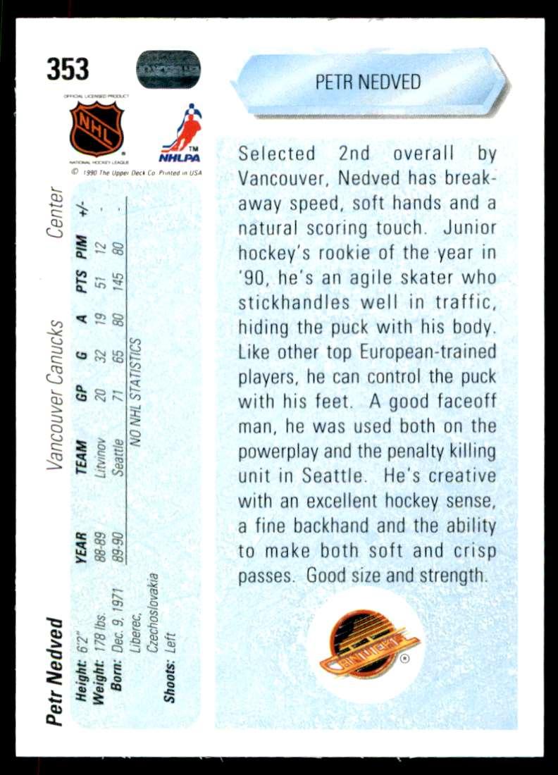 1990-91 UD Petr Nedved #353 card back image