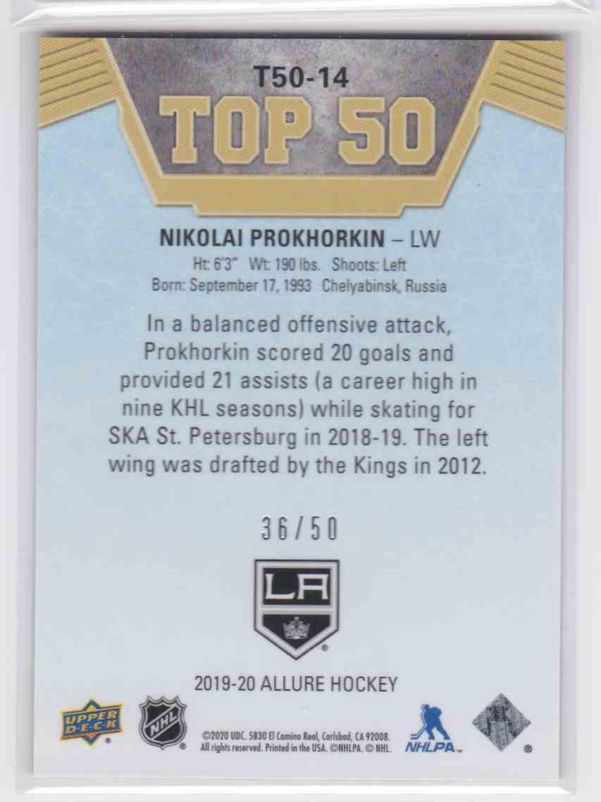 2019-20 Upper Deck Hockey Allure Nikolai Prokhorkin - Green Border #T50-14 card back image