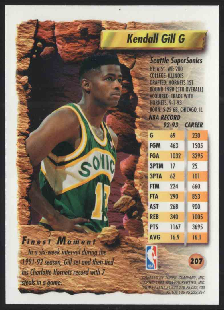 1993-94 Finest Refractors Kendall Gill #207 card back image