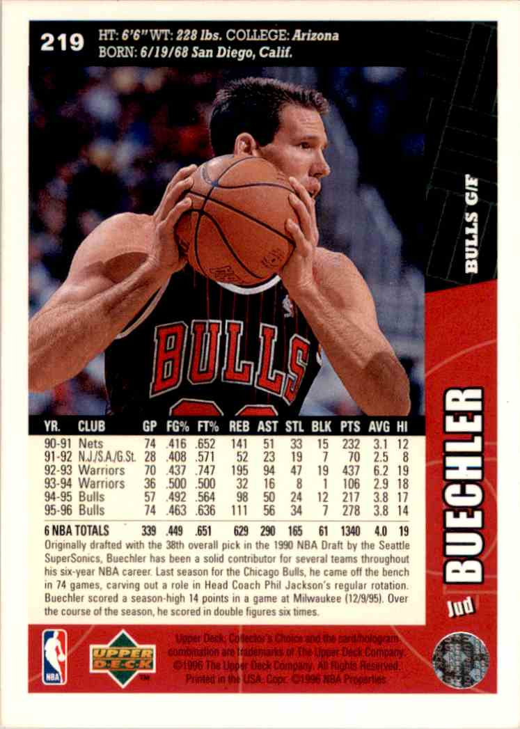 1996-97 Collector's Choice Jud Buechler #219 card back image