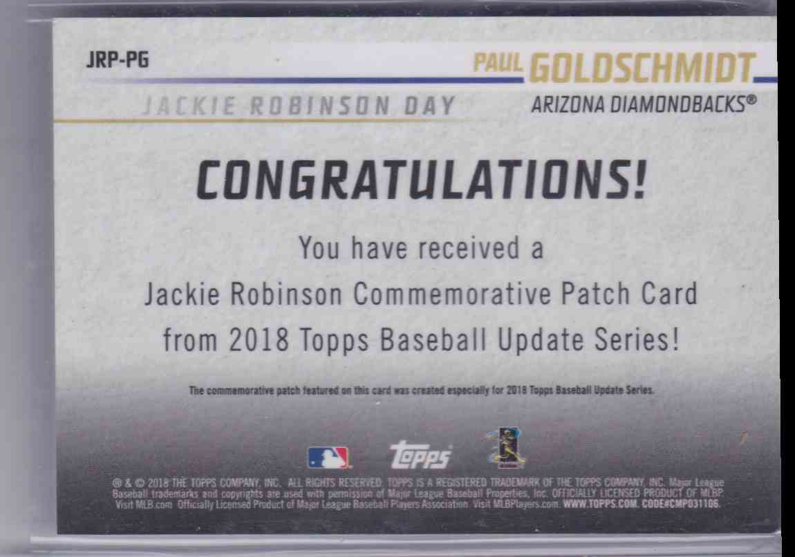 2018 Topps Jackie Robinson Commerative Patch Paul Goldschmidt #JRP-PG card back image