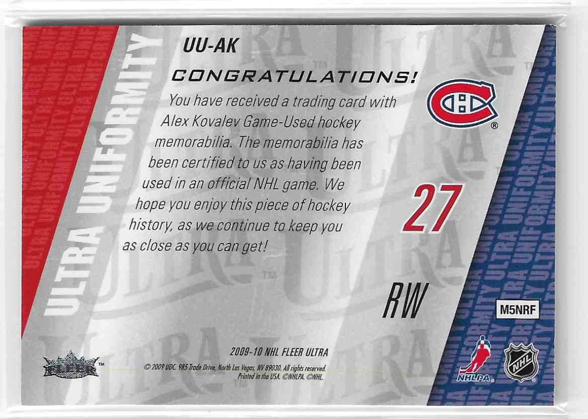 2009-10 Fleer Ultra Ultra Uniformity Alex Kovalev #UU-AK card back image