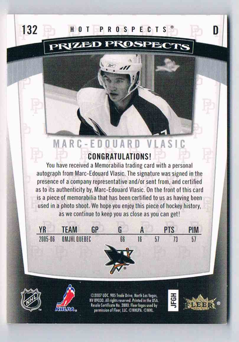 2006-07 Hot Prospects Marc-Edouard Vlasic #132 card back image