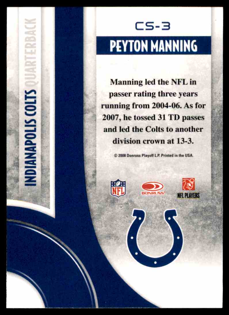 2008 Donruss Threads Century Stars Peyton Manning #CS-3 card back image