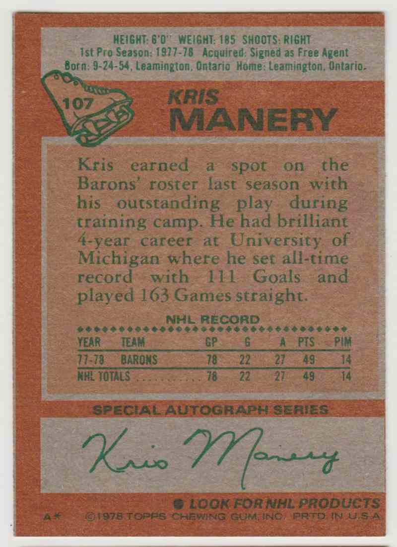 1978-79 Topps Kris Manery #107 card back image