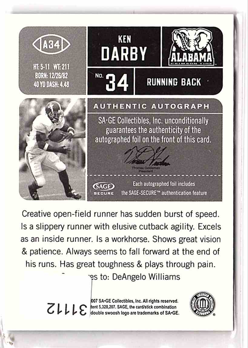 2007 Sage Hit Autographs Kenneth Darby #A34 card back image