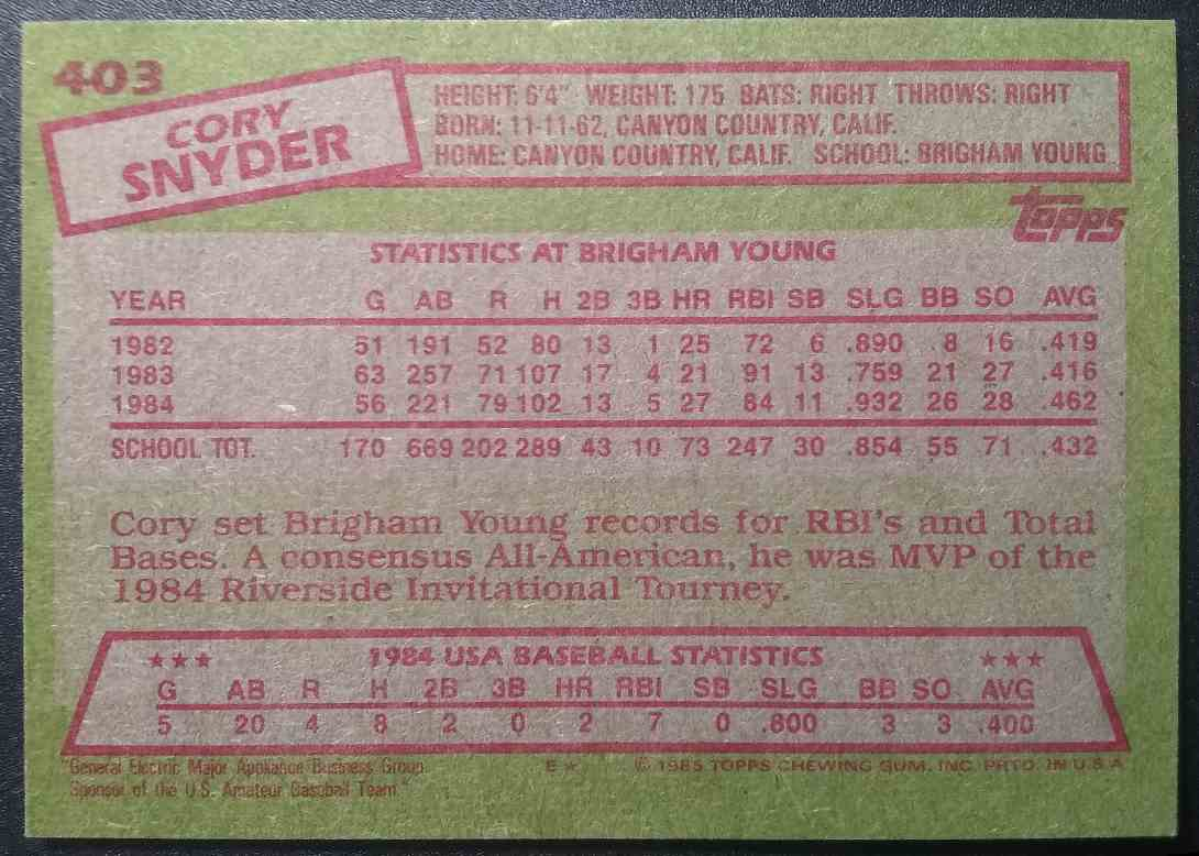 1985 Topps Cory Snyder #403 card back image