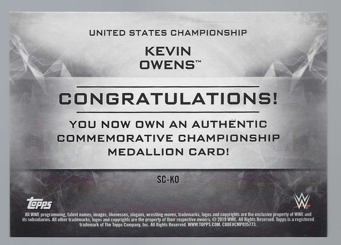 2019 Topps Wwe SmackDown Live SmackDown Championship Commemorative Relics Gold Kevin Owens #SCKO card back image