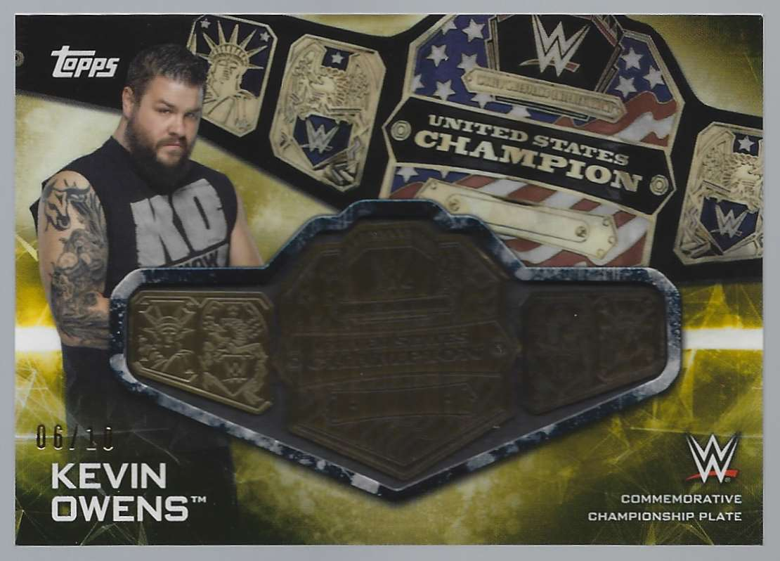 2019 Topps Wwe SmackDown Live SmackDown Championship Commemorative Relics Gold Kevin Owens #SCKO card front image