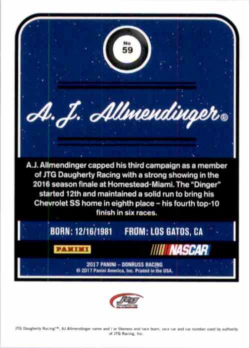 2017 Donruss A.J. Allmendinger #59 card back image