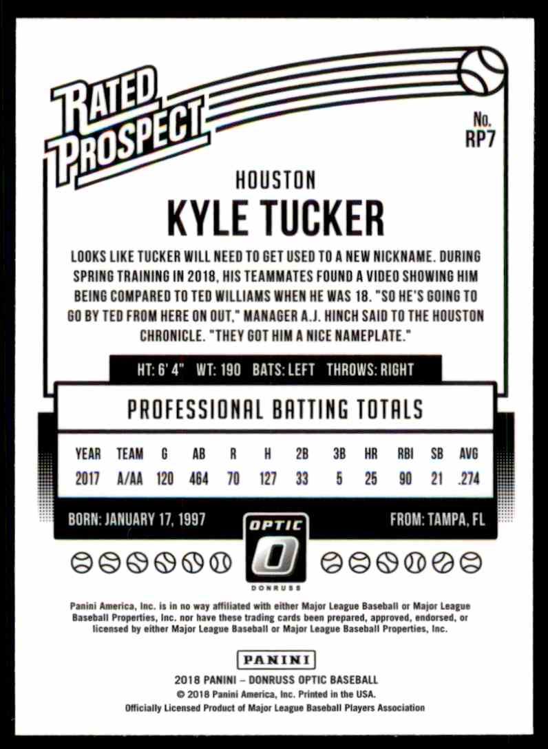 2018 Donruss Optic Rated Prospect Kyle Tucker #RP7 card back image