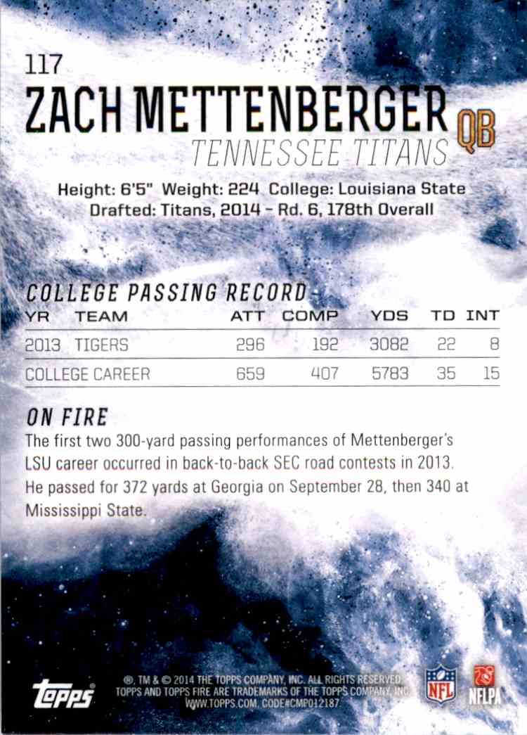 2014 Topps Fire Zach Mettenberger RC #117 card back image