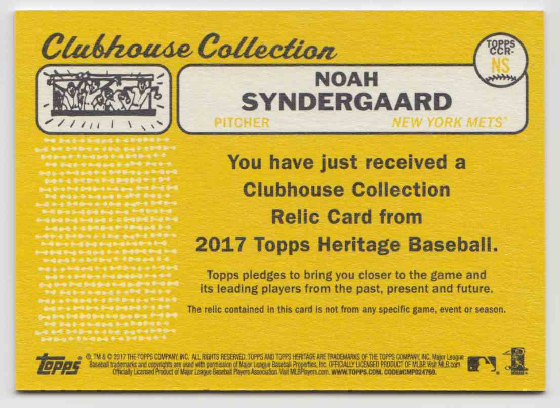 2017 Topps Heritage High Clubhouse Collection Relics Noah Syndergaard #CCR-NS card back image