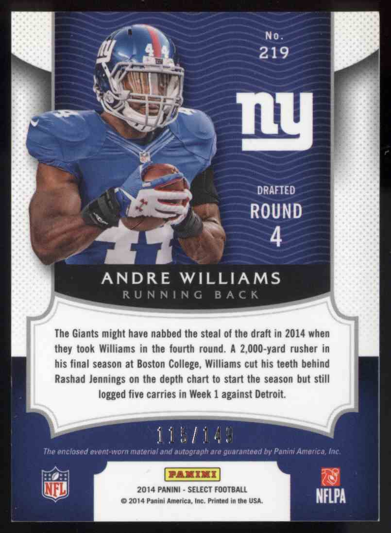 2014 Panini Select Andre Williams #219 card back image