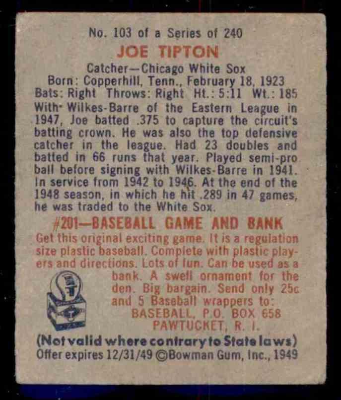 1949 Bowman Joe Tipton #103 card back image