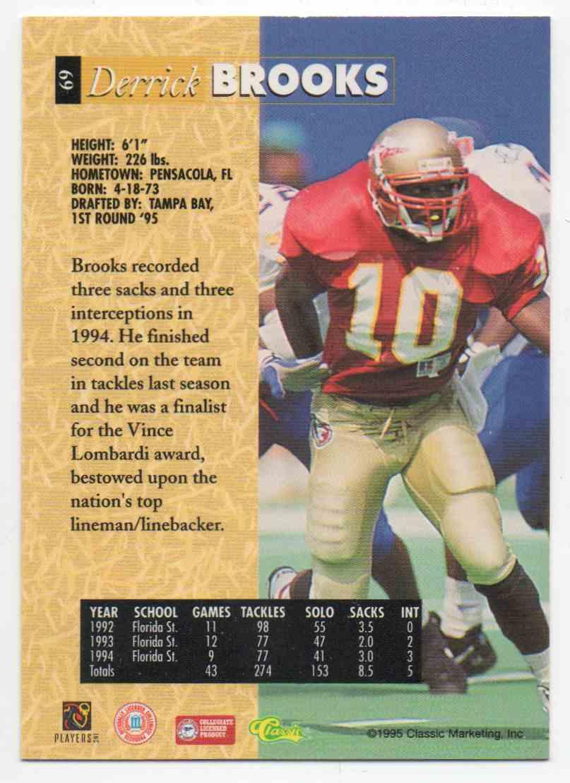 1995 Classic 5 Sport Derrick Brooks #69 card back image