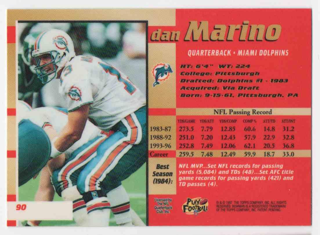1996 Bowmans Best Dan Marino #90 card back image