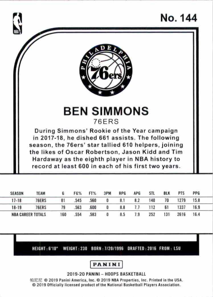 2019-20 Hoops Ben Simmons #144 card back image