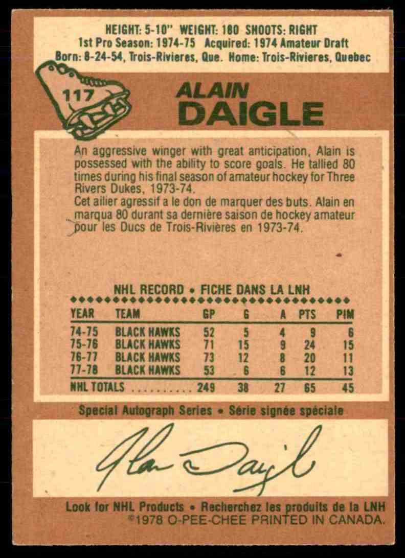 1978-79 O-Pee-Chee Alain Daigle #117 card back image