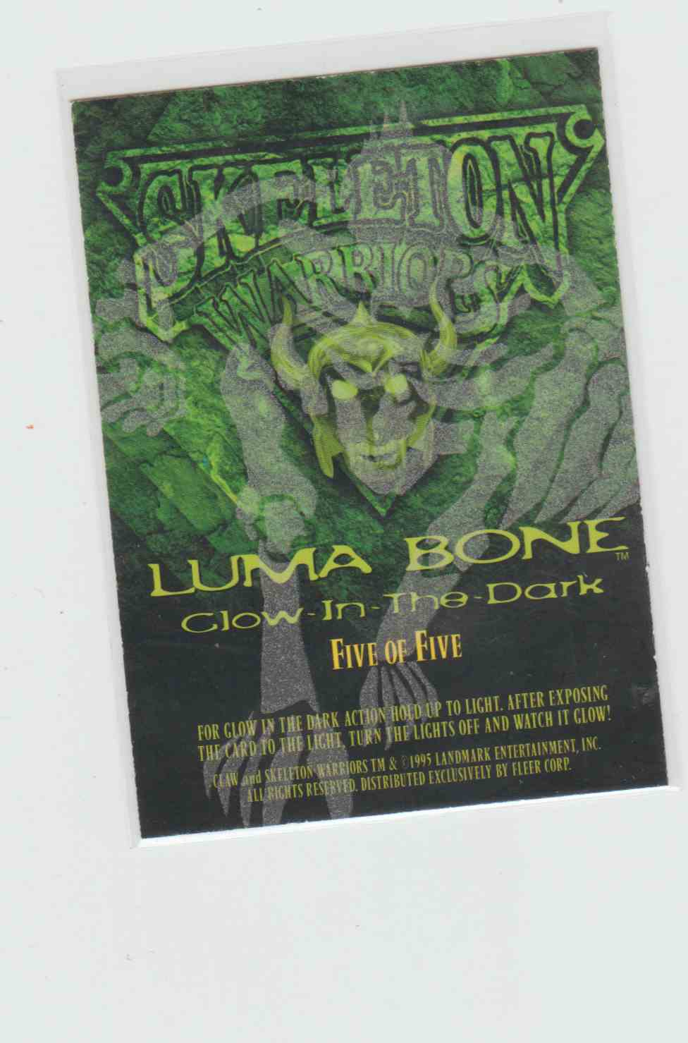 1995 Fleer Ultra Skeleton Warriors Luma Bone Claw #5 card back image