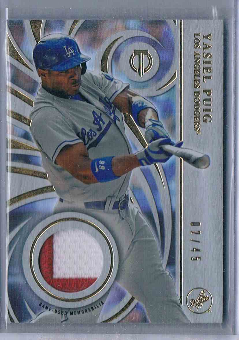 2015 Topps Tribute Prime Patches Yasiel Puig #PP-YP card front image