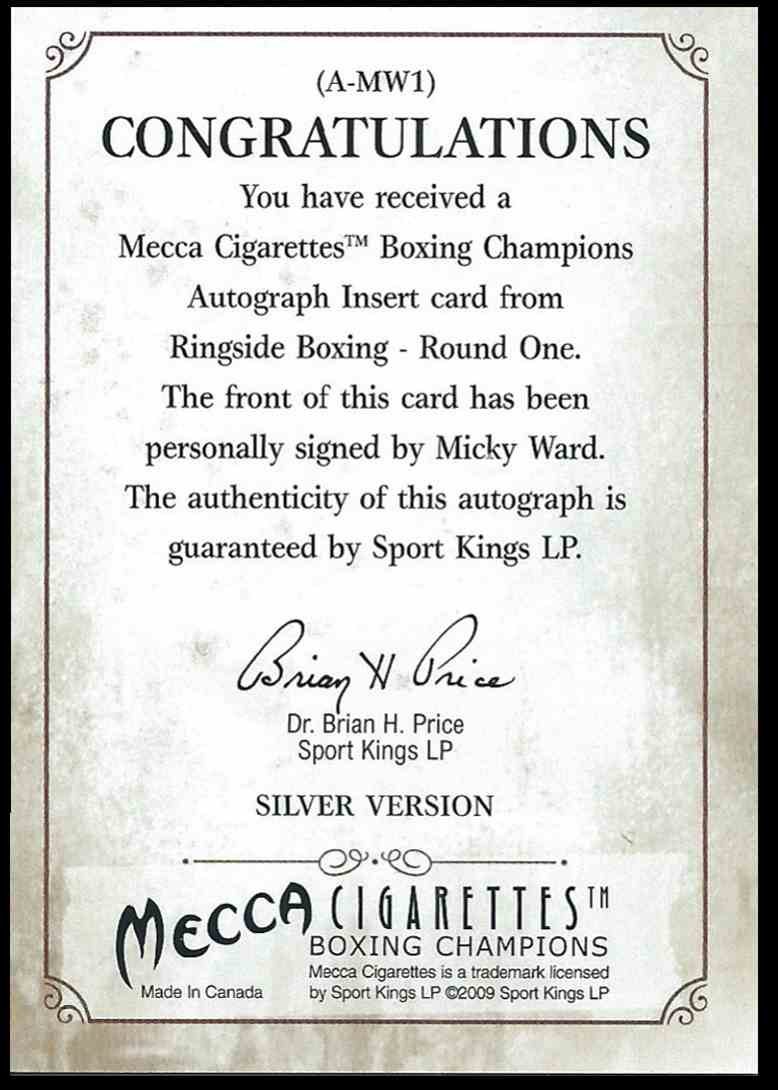 2009 Sport Kings Boxing Champs Micky Ward #AMW1 card back image