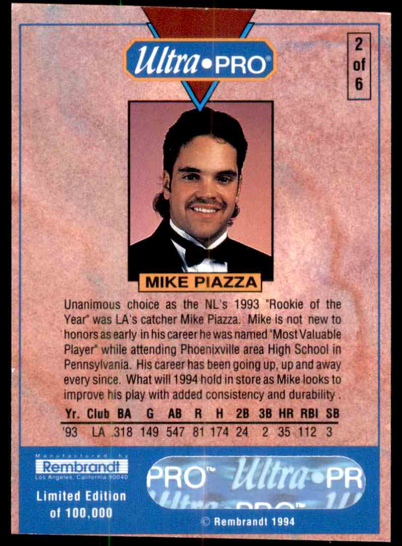 1994 Ultra Pro Rookie Of The Year Mike Piazza 2 On Kronozio
