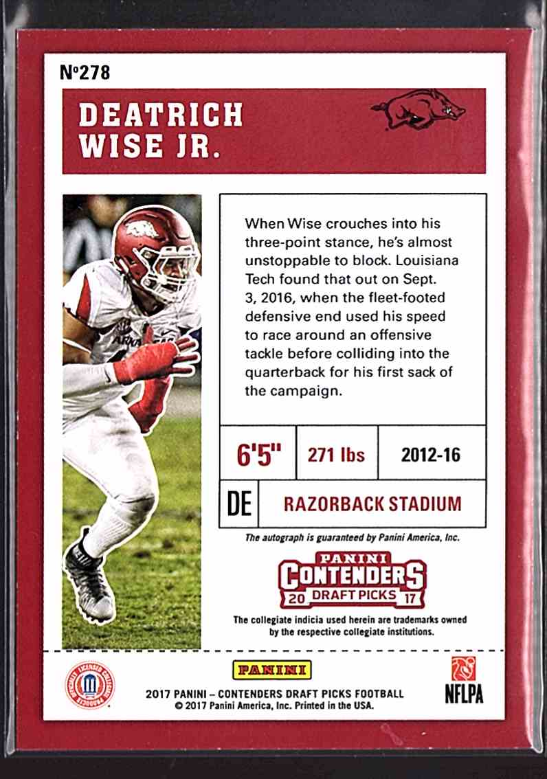 2017 Panini Contenders Draft Picks Deatrich Wise JR. #278 card back image