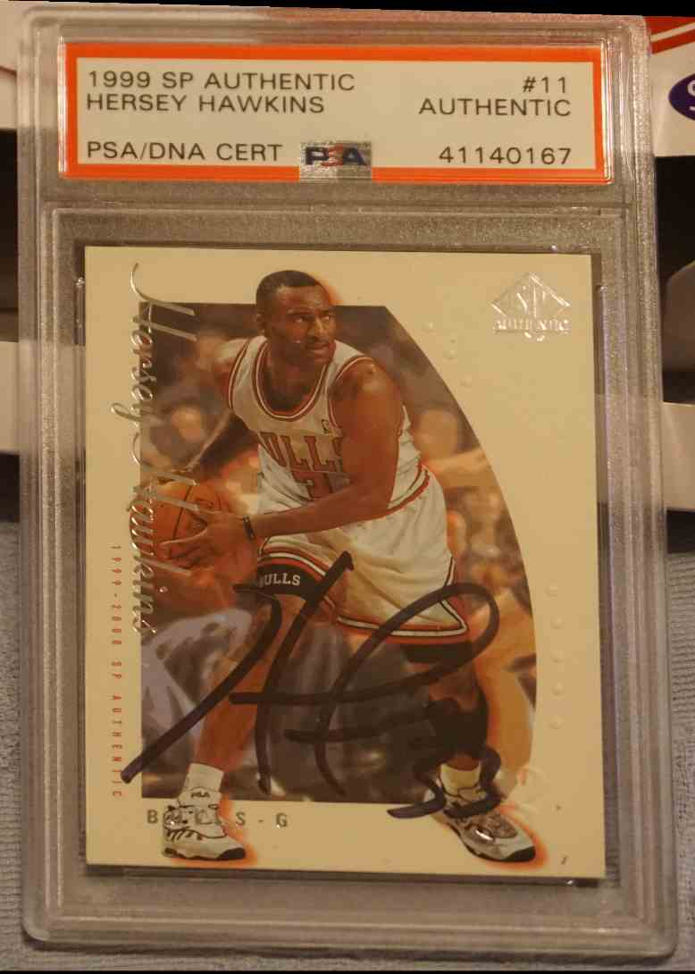 1999-00 SP Authentic PSA DNA Hersey Hawkins card front image