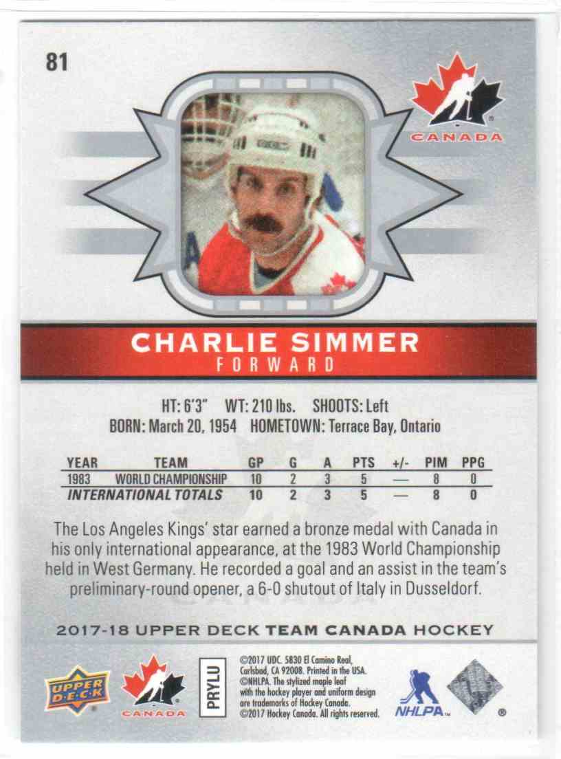 2017-18 Upper Deck Team Canada Canadian Tire Charlie Simmer #81 card back image