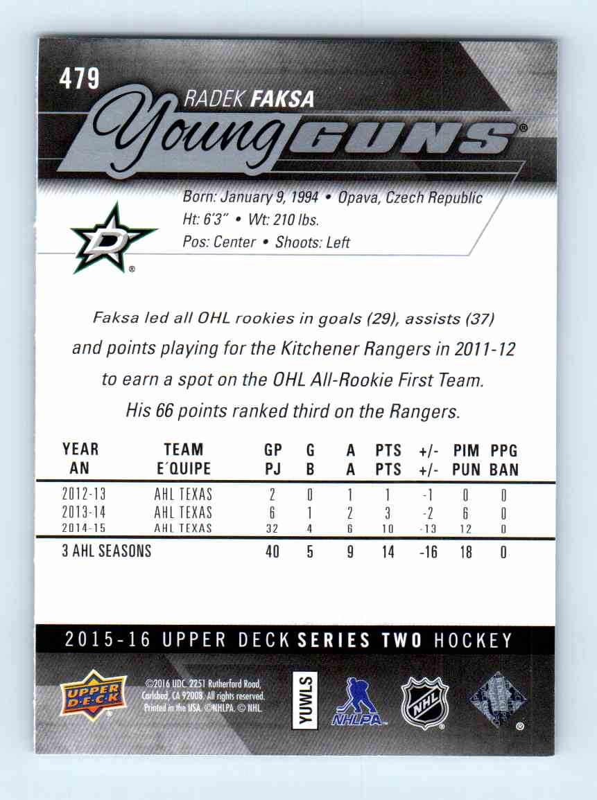 2015-16 Upper Deck Young Guns Radek Faksa #479 card back image