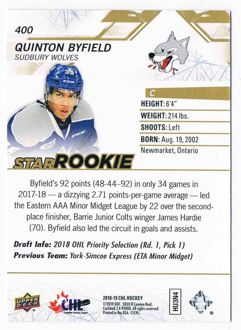 2018-19 CHL Star Rookie High Gloss Quinton Byfield #400 card back image