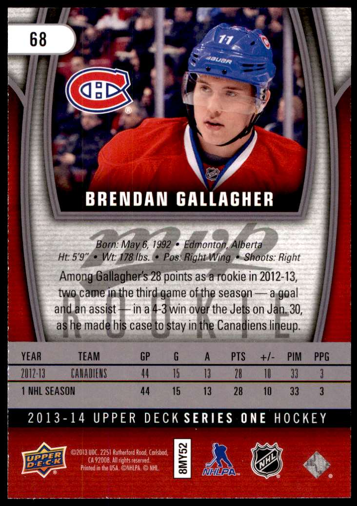 2013-14 Upper Deck MVP Oversized Brendan Gallagher #68 card back image