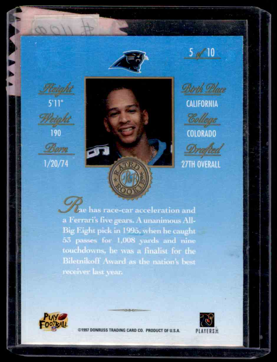 1997 Donruss Rate Rookies Medalist Rae Carruth #5 card back image