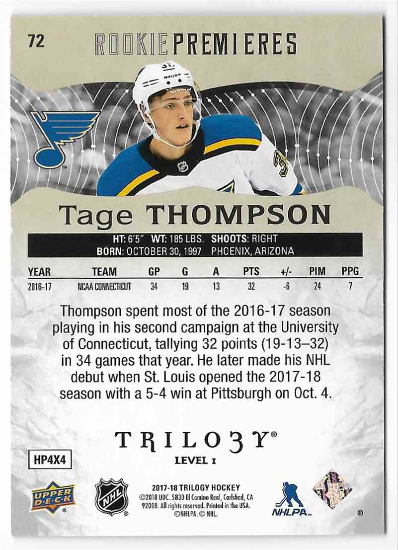 2017-18 Upper Deck Trilogy Tage Thompson #72 card back image