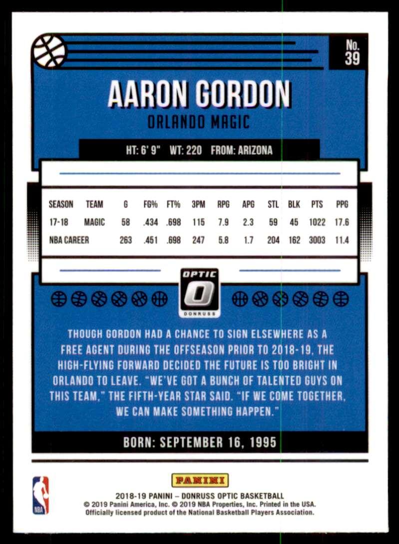2018-19 Donruss Optic Aaron Gordon #39 card back image
