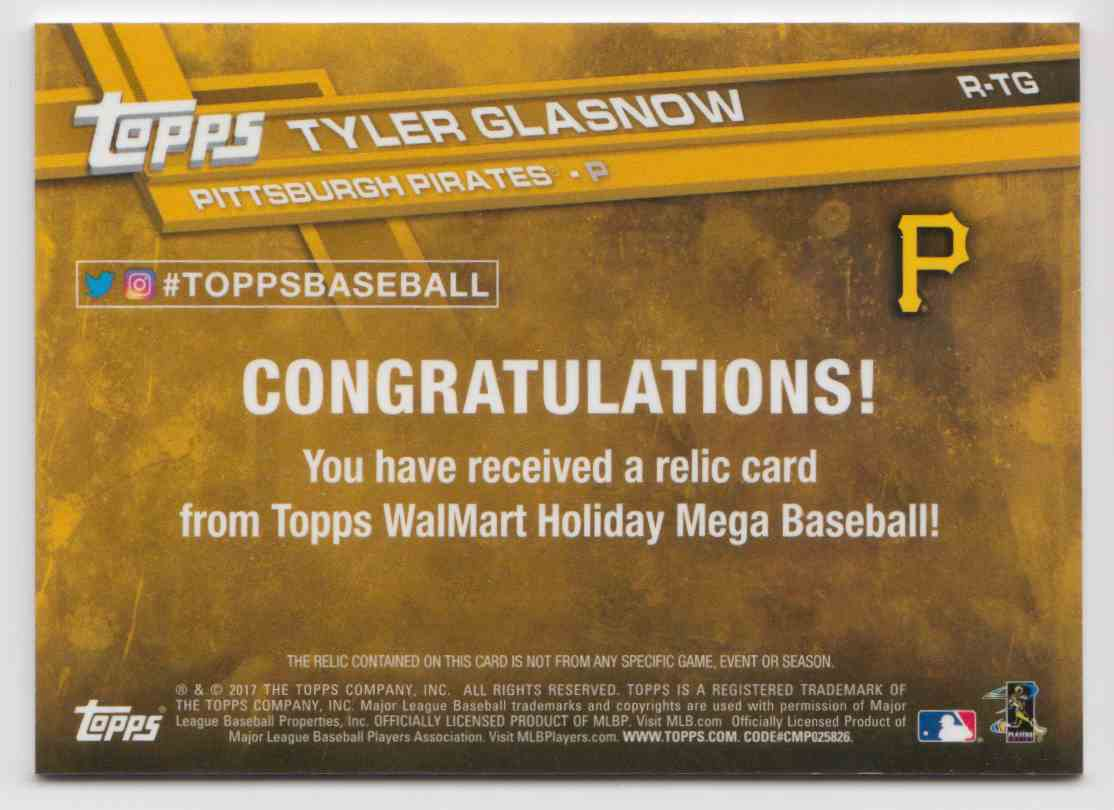 2017 Topps Holiday Relics Tyler Glasnow #R-TG card back image