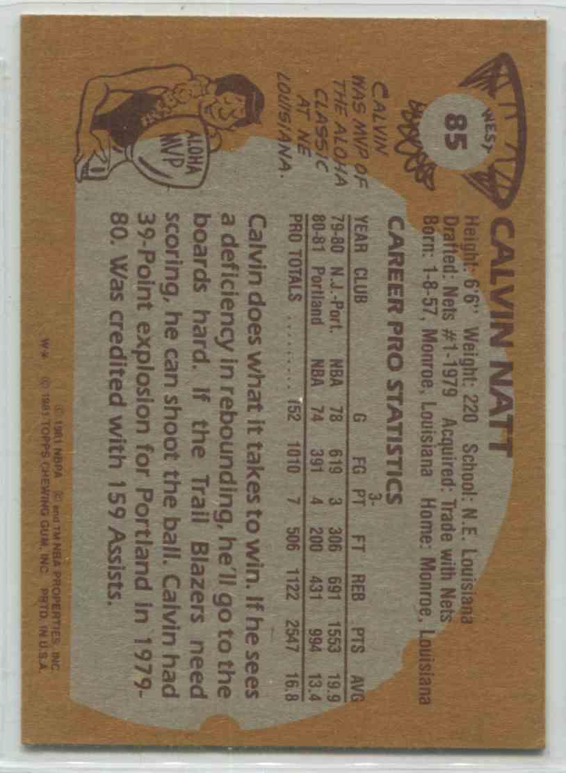 1981 82 Topps Calvin Natt W85 on Kronozio