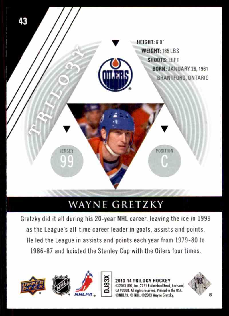 2013-14 Upper Deck Trilogy Wayne Gretzky #43 card back image