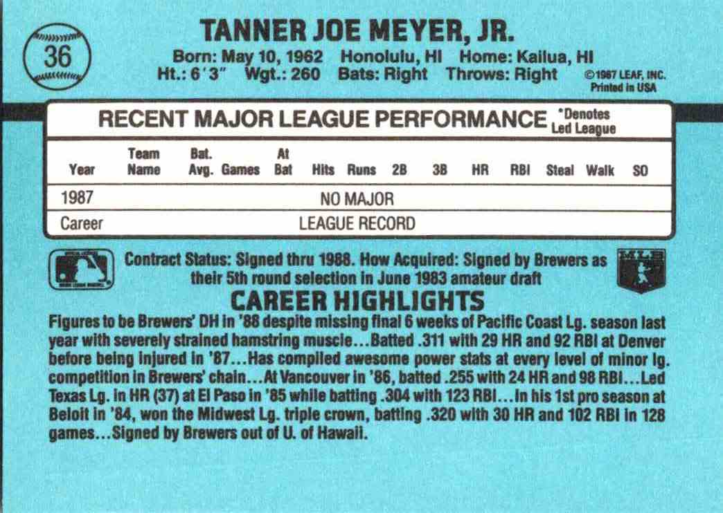 1988 Donruss Joey Meyer #36 card back image