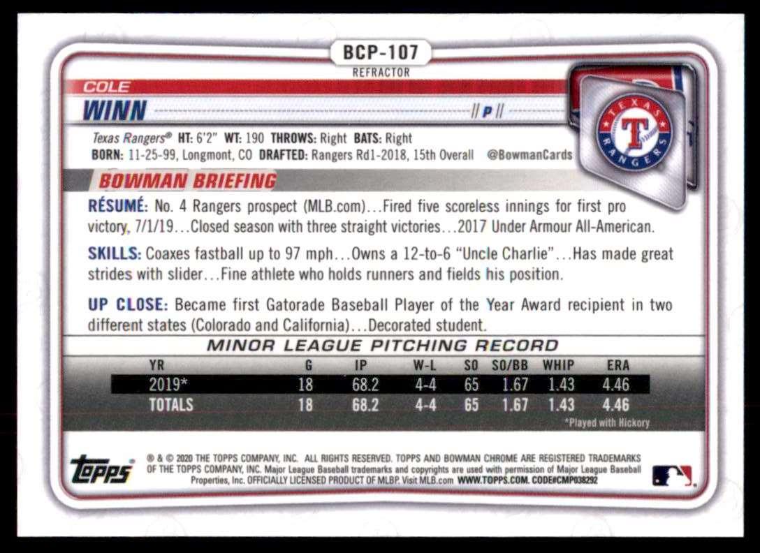 2020 Bowman Chrome Prospects Refractors Cole Winn #BCP107 card back image