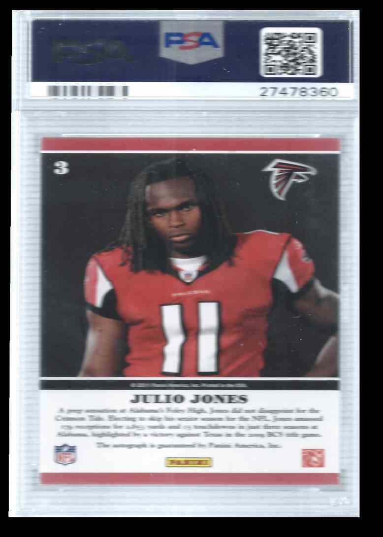 2011 Playoff Contenders Rookie Ink Julio Jones #3 card back image