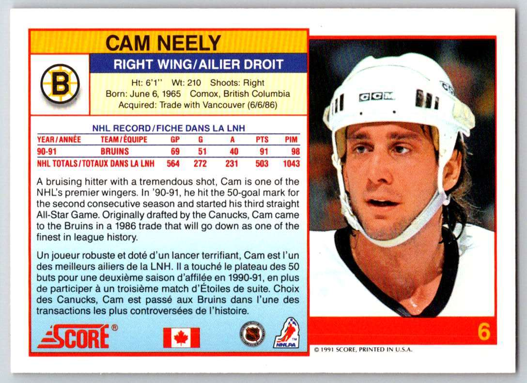 1991-92 Score Canadian Bilingual Cam Neely #6 card back image