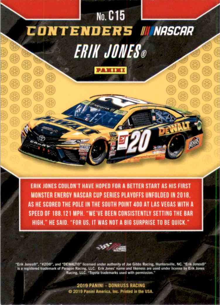 2019 Donruss Contenders Erik Jones #C15 card back image