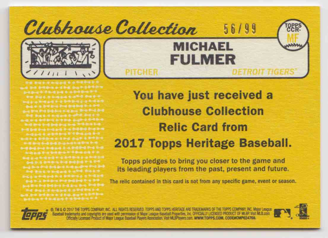 2017 Topps Heritage High Clubhouse Collection Gold Michael Fulmer #CCR-MF card back image