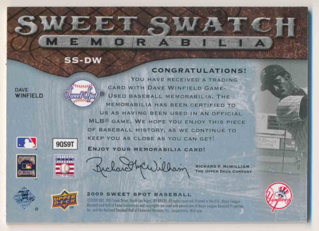 2009 Sweet Spot Sweet Swatch Memorabilia Dave Winfield #SS-DW on